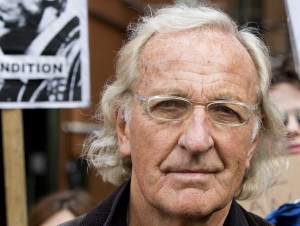 Australian journalist and documentary maker John Pilger stands outside Ecuador's Embassy in London